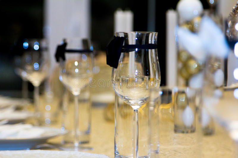 Glass on the table stock photos