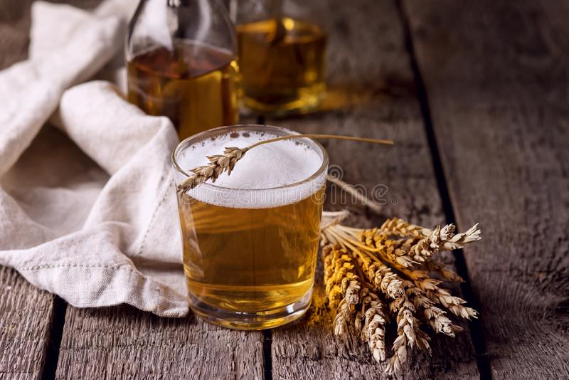 Glass of Tasty Homemade Beer Cild Drink Wooden Background Horizntal royalty free stock photo