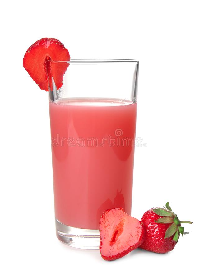 Glass with tasty strawberry starch drink on white background royalty free stock images