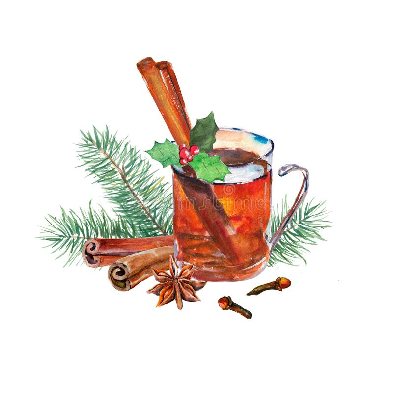 Glass of tea with holly, anise, cinnamon, carnation and firtree branch. Watercolor hand-drawn object isolated on white background. stock illustration