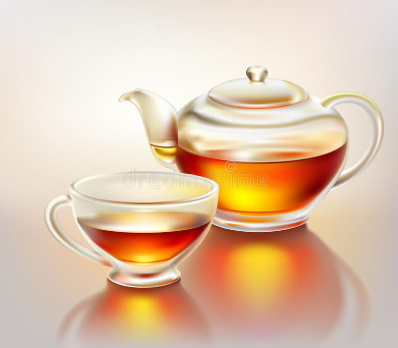 Glass teapot and cup with tea vector illustration