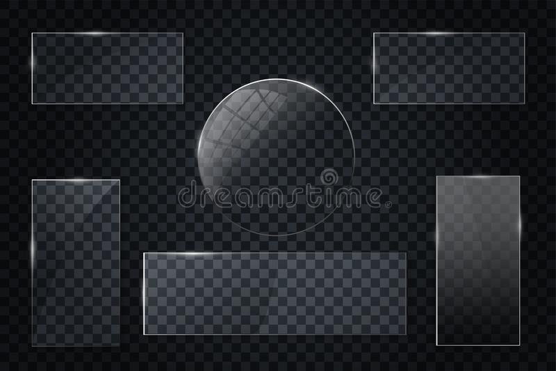 Glass transparent banners set. Vector glass plates with a place for inscriptions isolated on transparent background. stock illustration