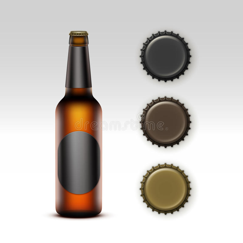 Glass Transparent Bottle of Beer with label, Caps. Vector Closed Blank Glass Transparent Brown Bottle of Light Beer with Black Round label and Set of Caps of royalty free illustration
