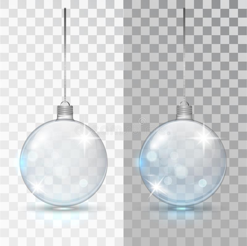 Glass transparent Christmas ball. Xmas glass bauble on transparent background. Holiday decoration template. Stocking royalty free illustration