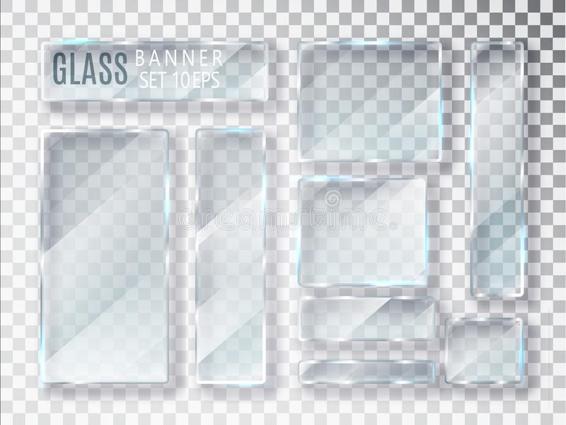 Glass transparent plates set. Vector glass modern banners isolated on transparent background. Flat glass. Realistic 3D design. Vec stock illustration