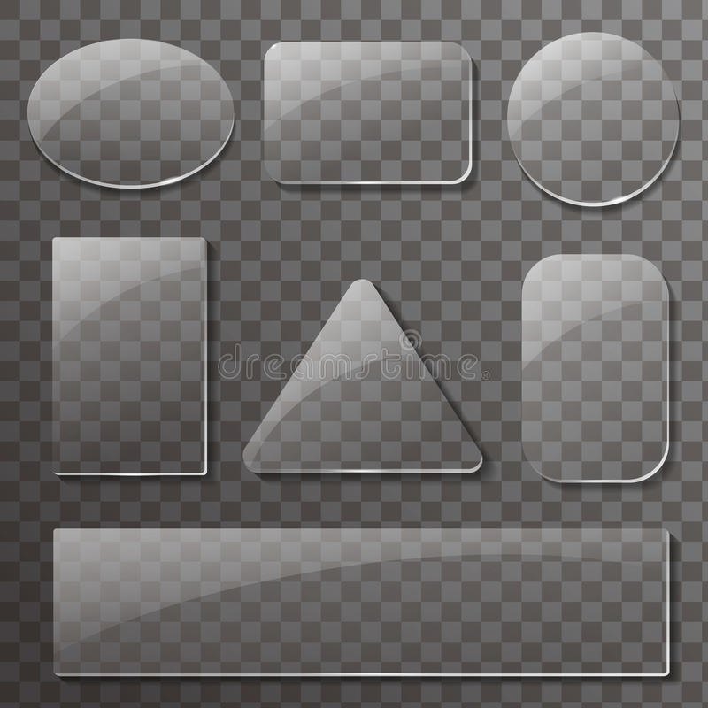 Glass transparent plates set. Vector rectangular and round buttons vector illustration