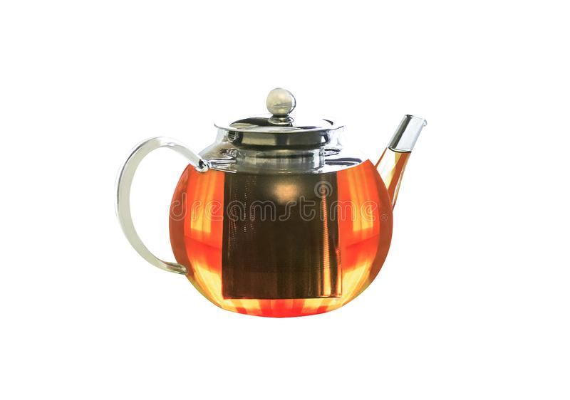 Glass transparent teapot with steel infuser royalty free stock photos