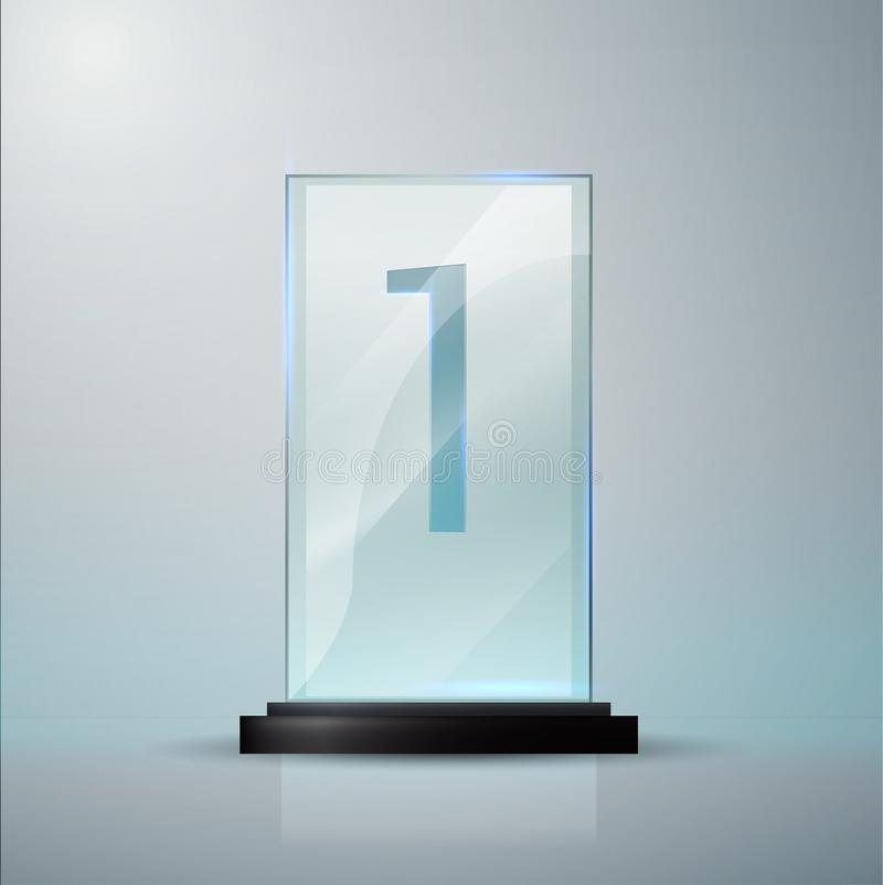 Glass Trophy Award  Vector Crystal 3D Mockup Stock Illustration