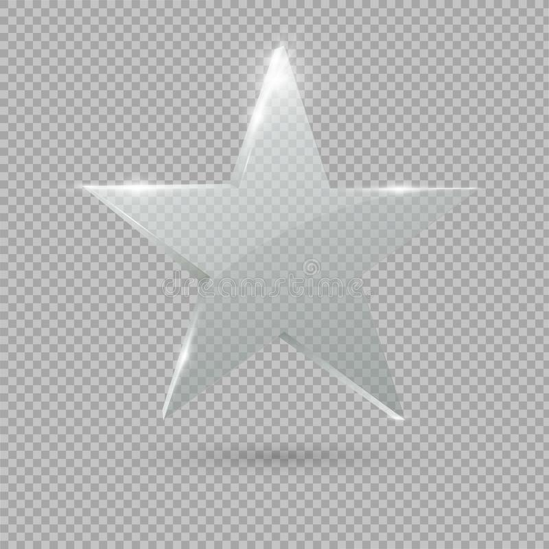 Glass Trophy Award.Star. Vector illustration. Glass star on transparent background stock illustration