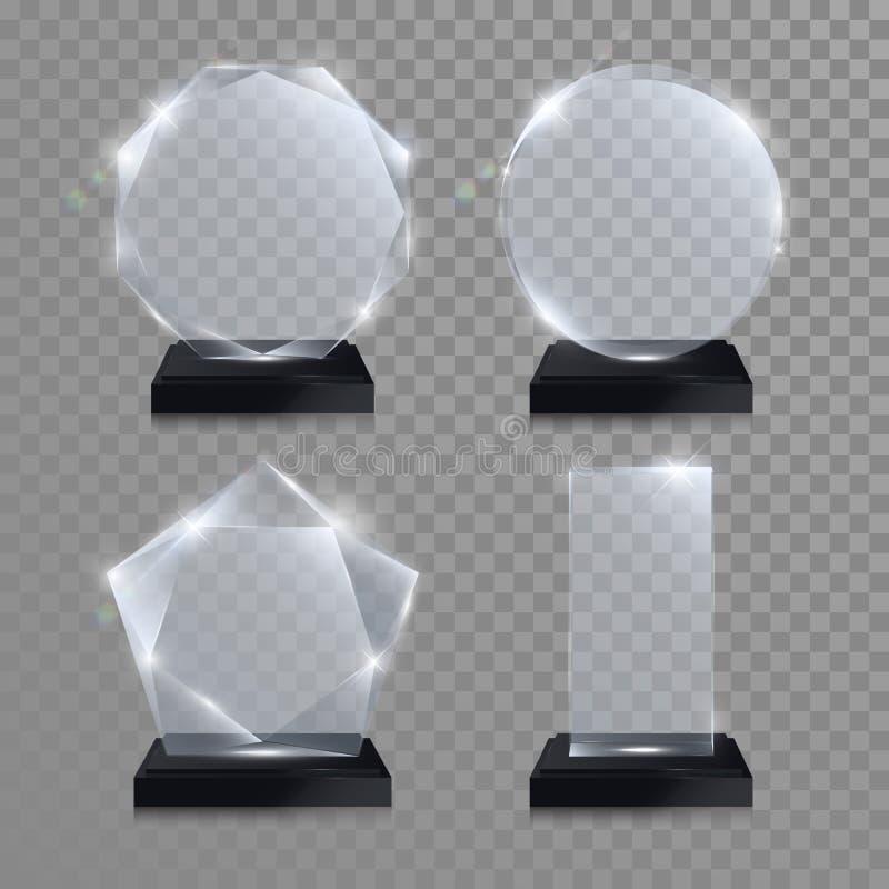 Glass Trophy Award. Vector Crystal 3D Transparent Stock