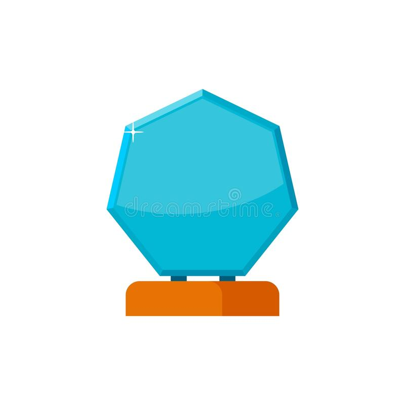 Glass trophy award with wooden base isolated on white background. Blue winner prize icon. Vector illustration royalty free illustration