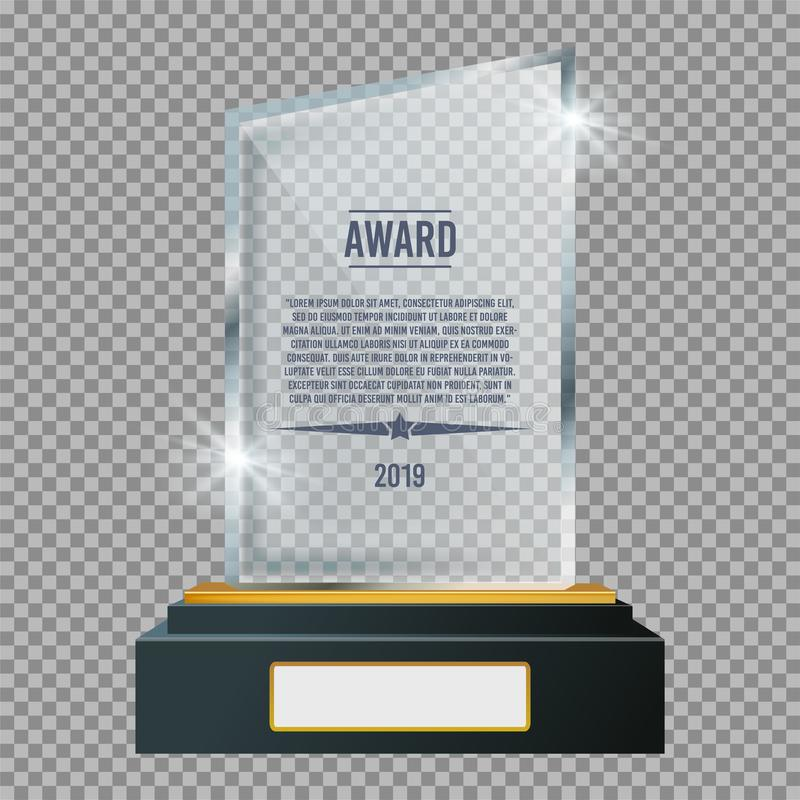 Glass trophy plaque award. Glossy transparent prize. Vector illustration. stock photo