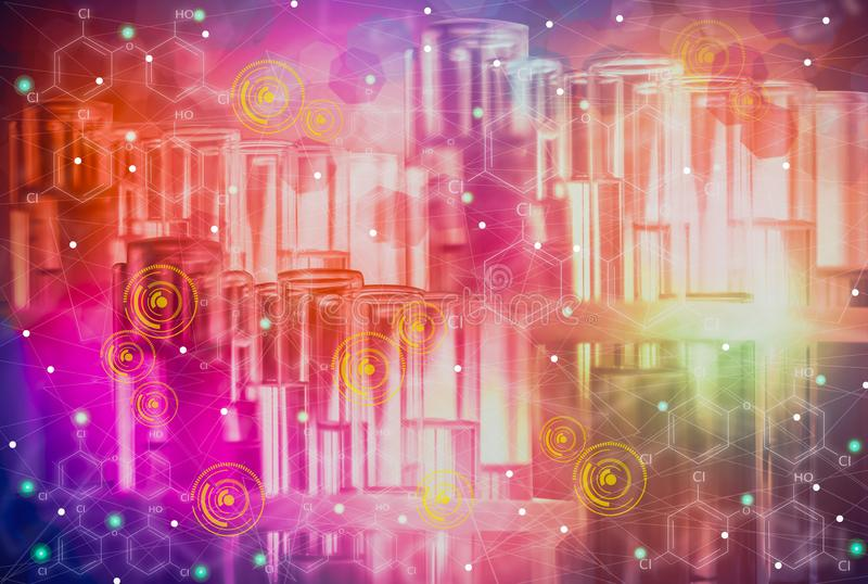 Glass tubes for laboratory experiments and research, containing colorful liquids and icon, molecular separation concepts for the royalty free illustration