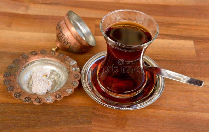Glass of Turkish tea stock photography