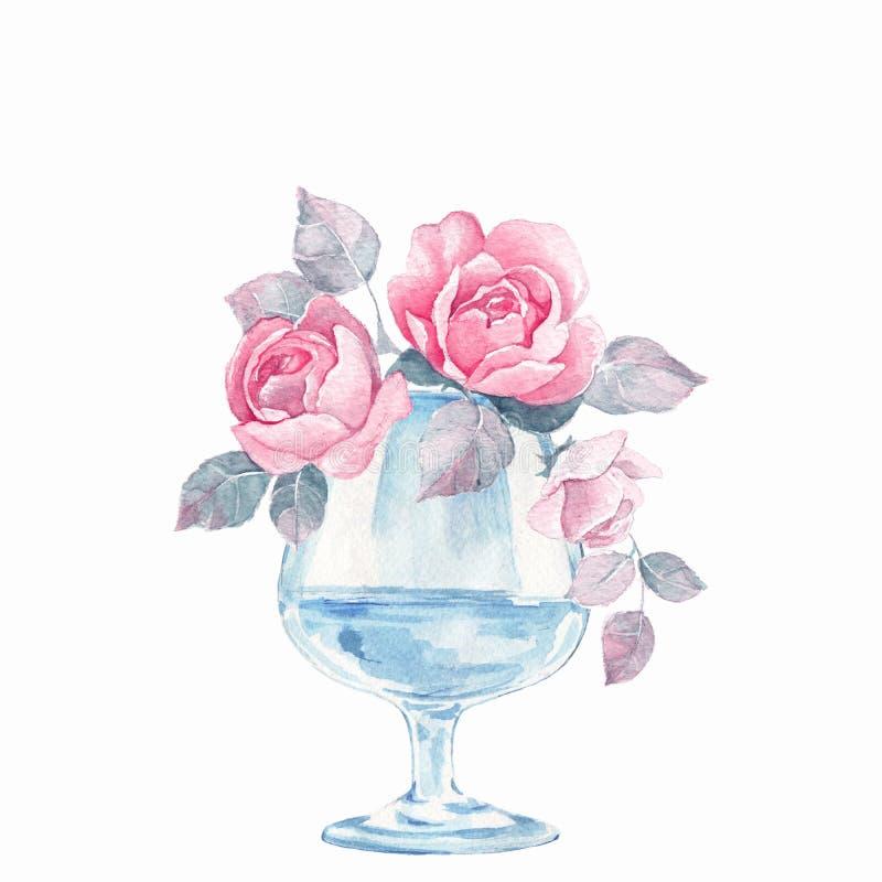 Glass vas med blommor vattenfärg stock illustrationer