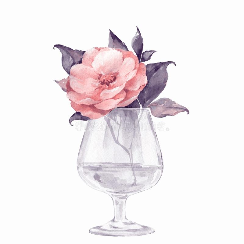 Glass vase with flowers. Isolated on white. Watercolor illustration royalty free illustration
