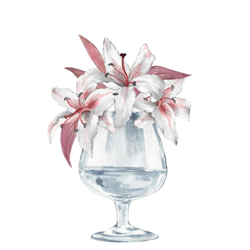 Glass vase with flowers. Lilies. Watercolor illustration royalty free illustration
