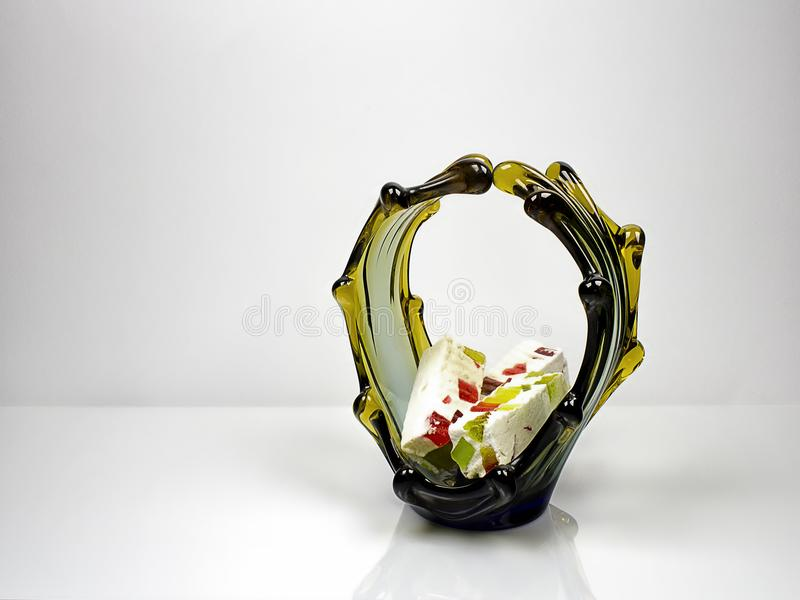 Glass vase with marshmallows. royalty free stock photos