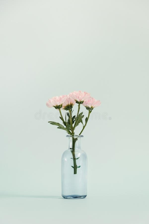 Glass vase with a small bouquet stock photo