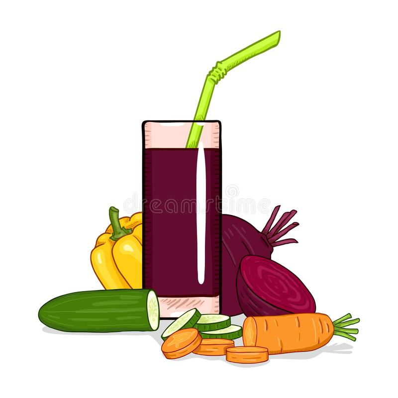 Glass of Vegetable Mix Juice. Vector Cartoon Isolated Illustration vector illustration