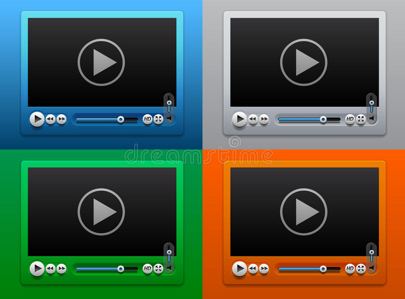Glass Video Player For Web On Color Background Stock Photos