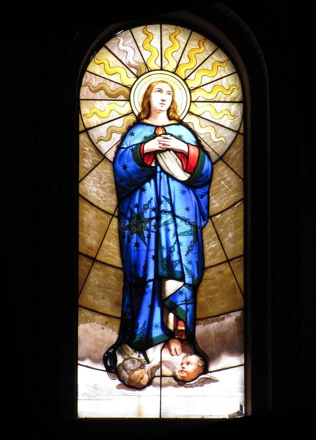 glass virginmary fönster royaltyfria bilder
