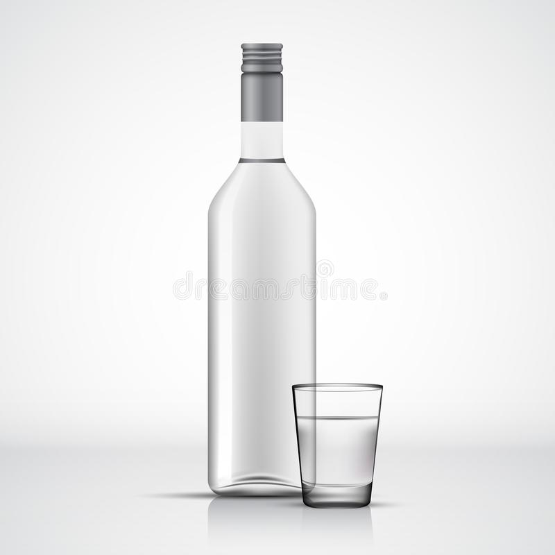 Glass Vodka bottle and shot template. Isolated on white stock illustration