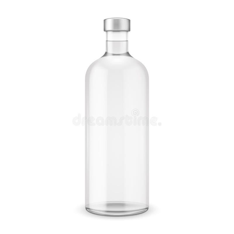 Glass vodka bottle with silver cap. Vector illustration. Glass bottle collection, item 10