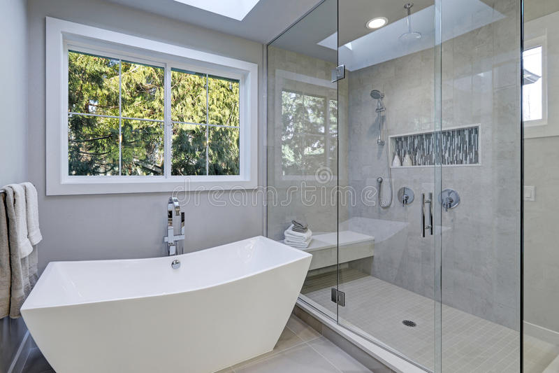 download glass walk in shower in a bathroom of new luxury home stock photo