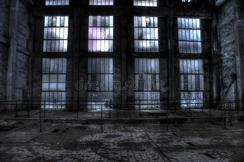 Glass wall in an abandoned mine pit trollay repair station. Glass wall abandoned mine pit trollay repair station France stock image