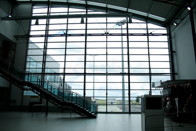 Glass wall in international airport. Lounge interior royalty free stock photos