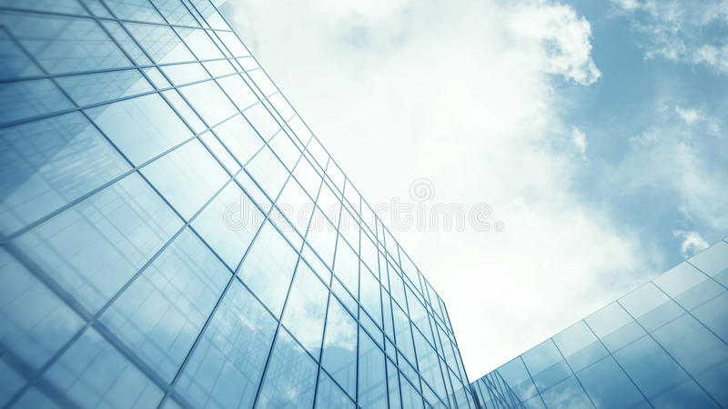 Glass wall of skyscraper. Blue clean glass wall of modern skyscraper stock images