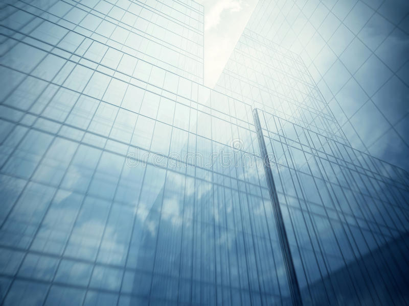 Glass walls of skyscraper. Blue clean glass wall of modern skyscraper royalty free stock images