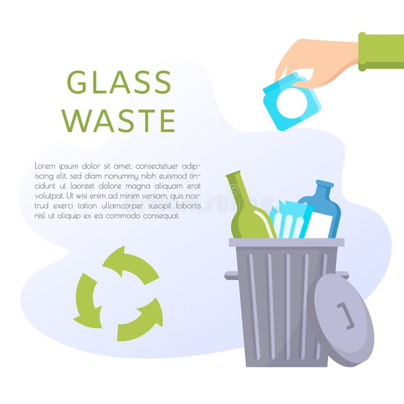 Glass waste vector illustration. Home stuff - wine bottle, plate, wineglass, jar, glasses. Recycling ecology problem isolate on white background objects vector illustration