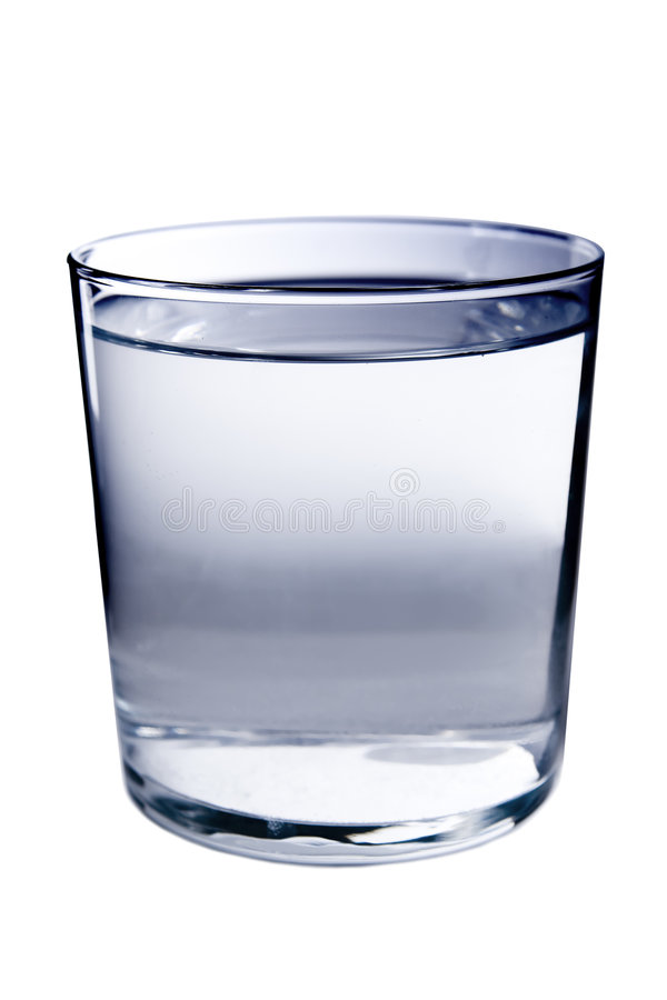 Glass of Water. A minimalistic glass full of water isolated on white royalty free stock photos