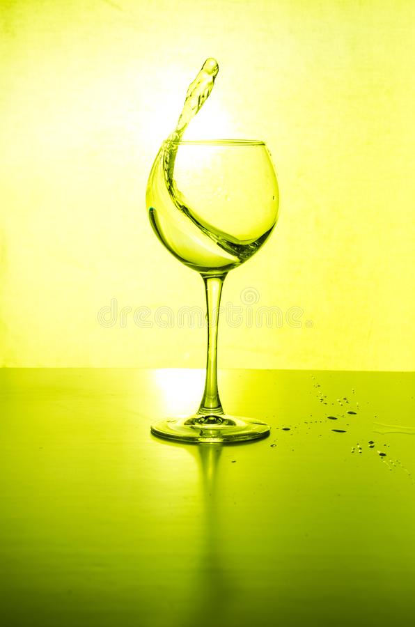 Glass water light splashes background with reflection stock images