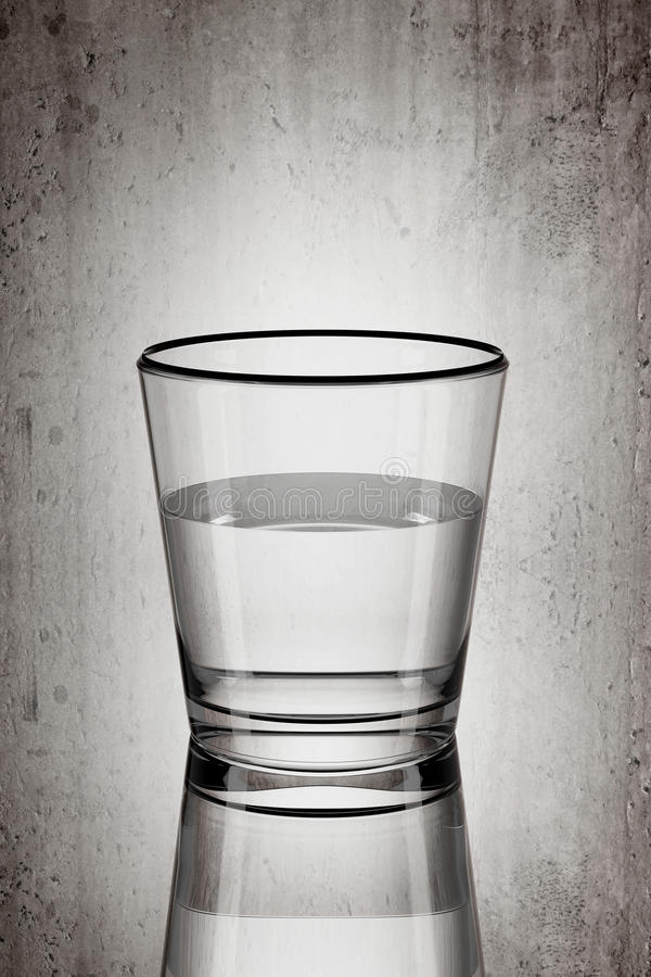 Glass of water. 3d rendering of a glass of water on a dirty background stock illustration