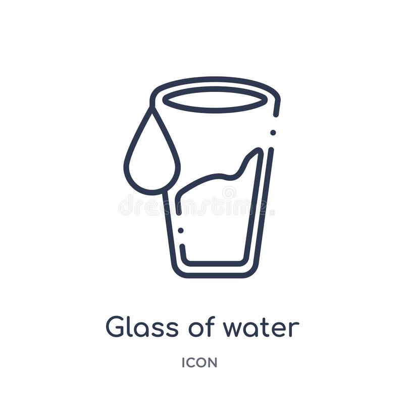 Glass of water with drop icon from ultimate glyphicons outline collection. Thin line glass of water with drop icon isolated on. White background stock illustration