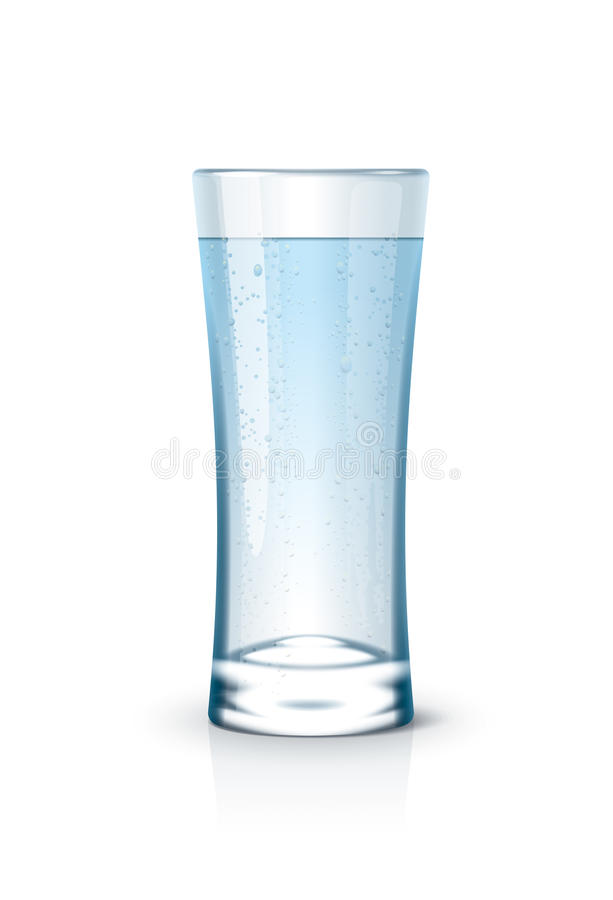 Water in glass. Glass with water and droplets. Detailed vector illustration for your projects stock illustration