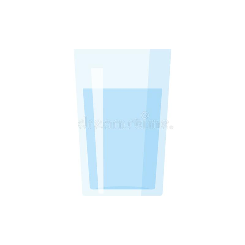 Glass of water flat icon. Vector illustration on white isolated background vector illustration