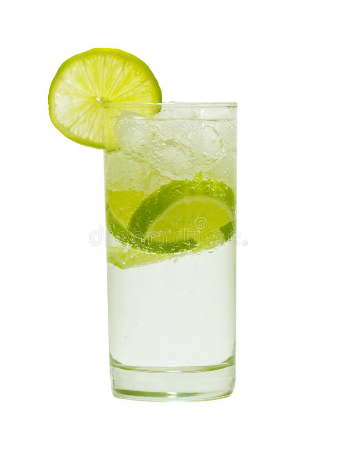 Glass of water with gas and lemon stock image