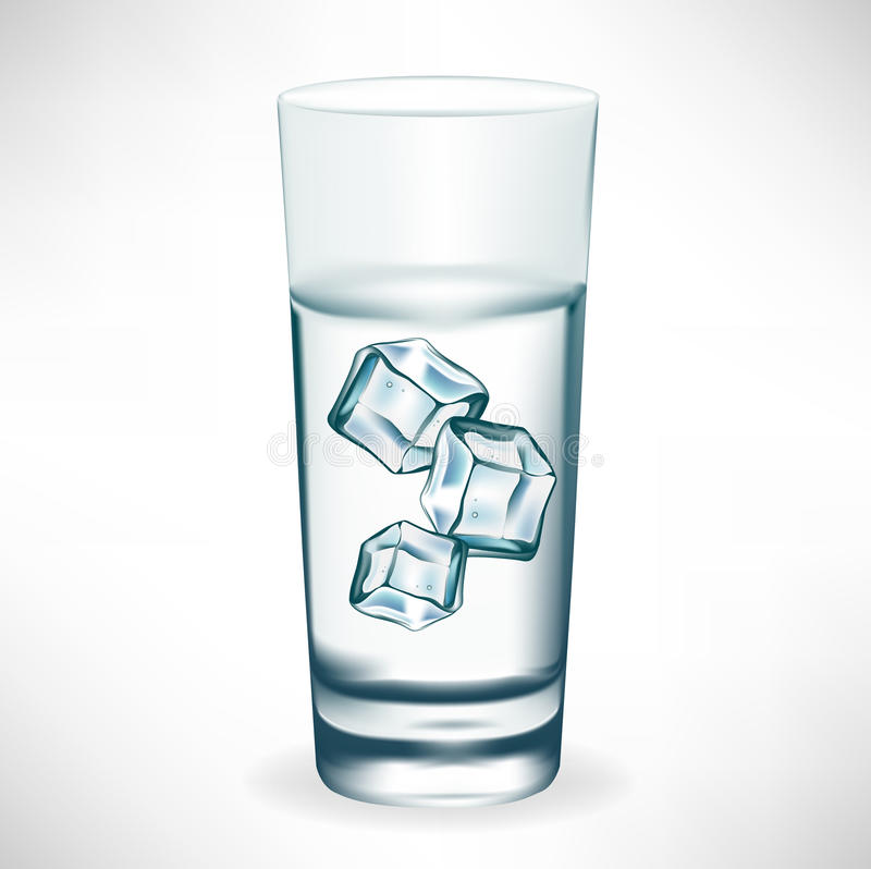 Glass with water and ice royalty free illustration