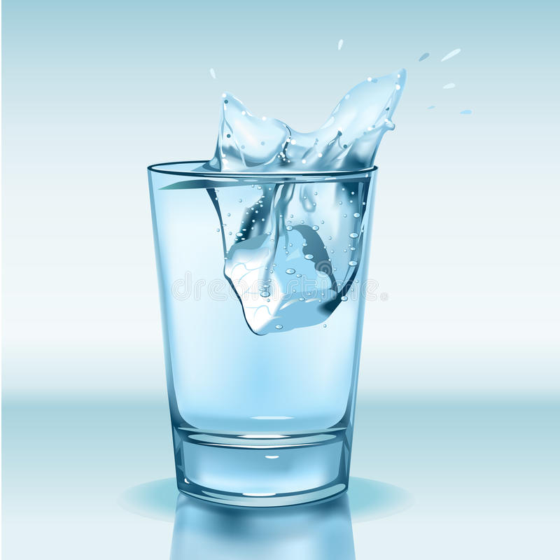 Glass with water and ice stock illustration