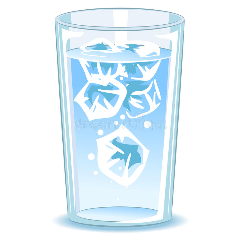 Glass of water with ice vector illustration