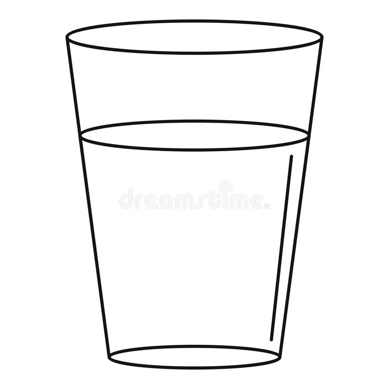 Glass Water Icon Outline Style Stock Vector