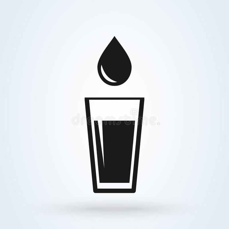 Glass of water icon vector. flat design isolated on white background stock illustration