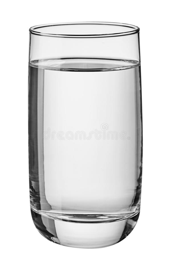 Glass of water isolated on white background. stock photo