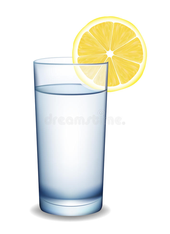 Glass of water with lemon. royalty free illustration
