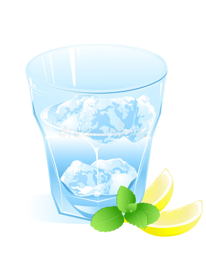 Glass with water, lemon and ice vector illustration
