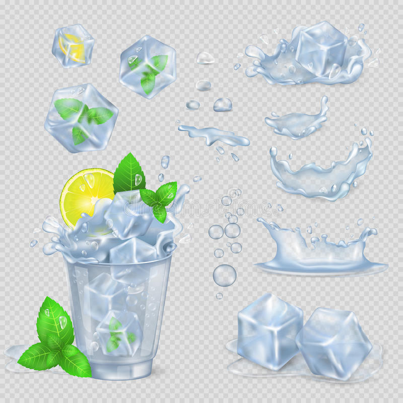 Glass with Water, Lemon Slice, Green Mint and Ice vector illustration